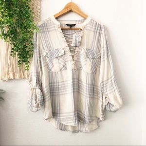 EXPRESS Plaid Chest Lace Up Long Sleeve Blouse